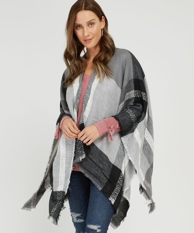 light weight plaid cape, BLACK PLAID, hi-res