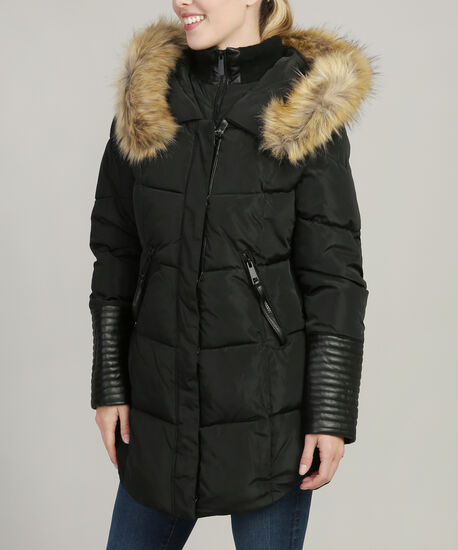 parka with faux leather sleeve detail - wb, BLACK, hi-res