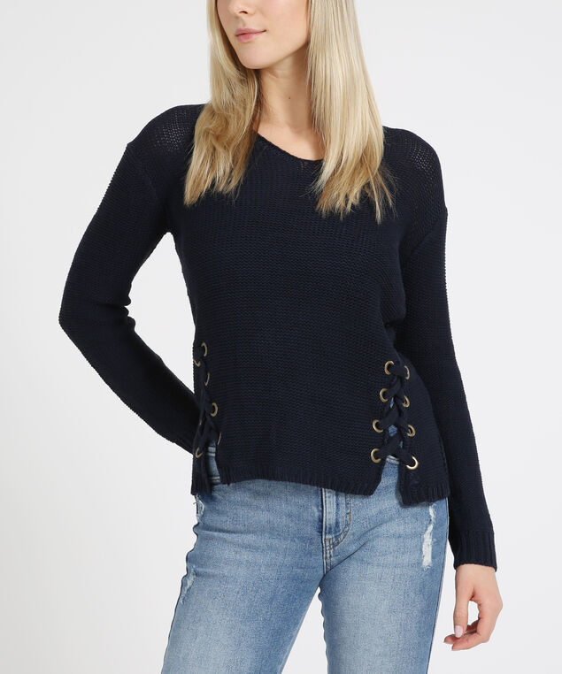double front lace-up sweater - wb, DARK NIGHT, hi-res