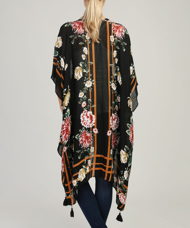 long floral kimono, BLACK FLORAL, hi-res