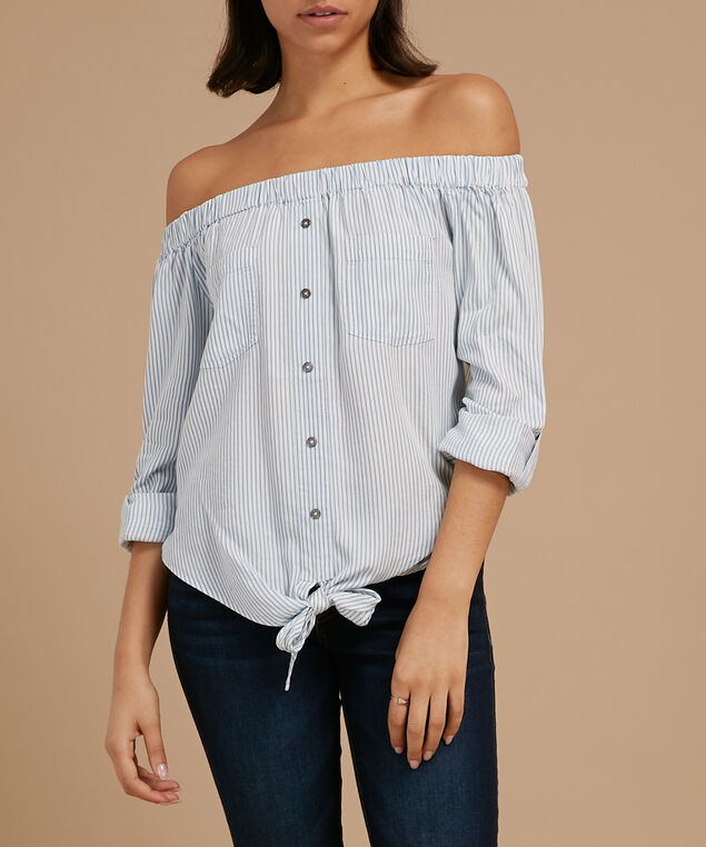 striped off the shoulder top - wb, BLUE/WHITE, hi-res