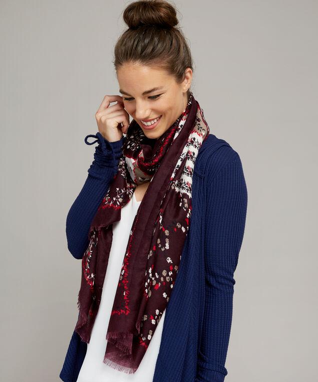 oblong floral scarf, WINE, hi-res