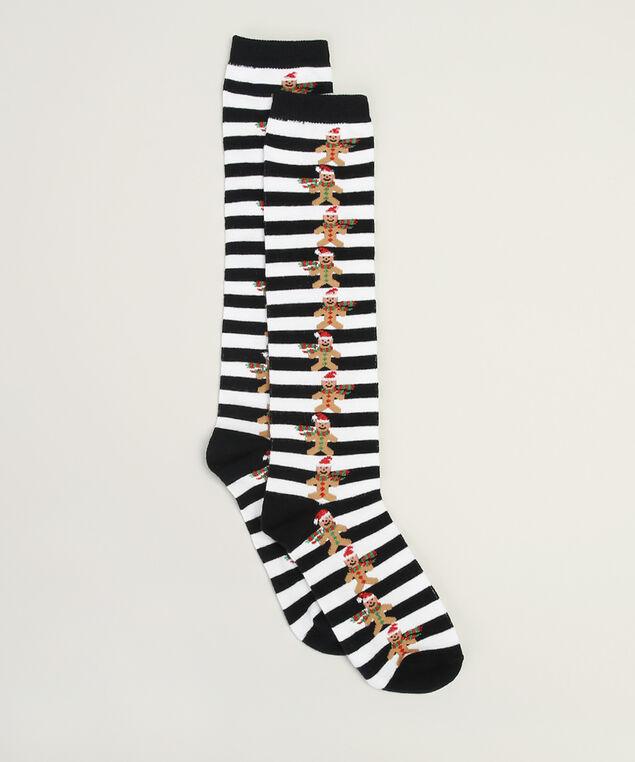 knee high gingerbread socks, BLACK/WHITE, hi-res