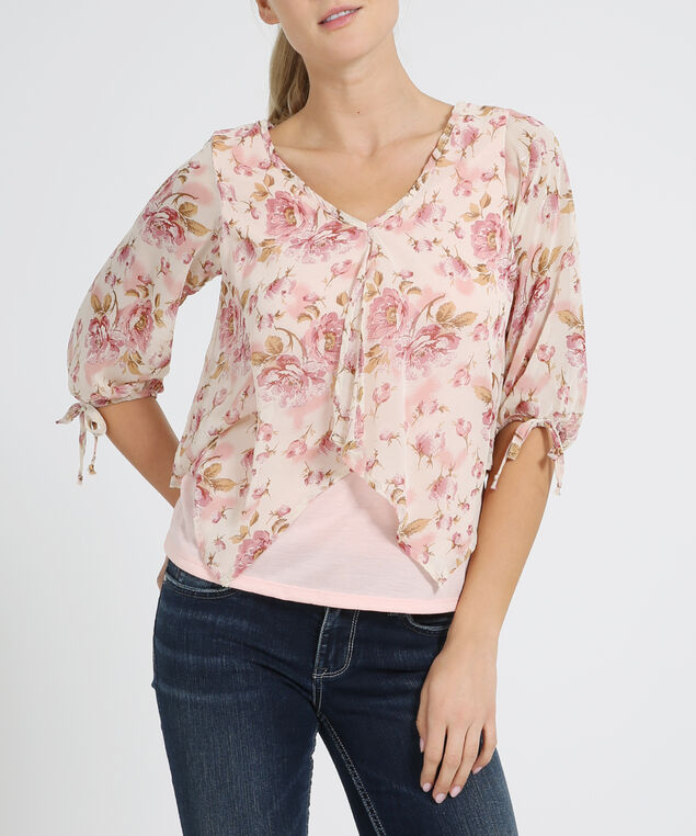 chiffon top with knit lining - wb, ROSE PEACH, hi-res