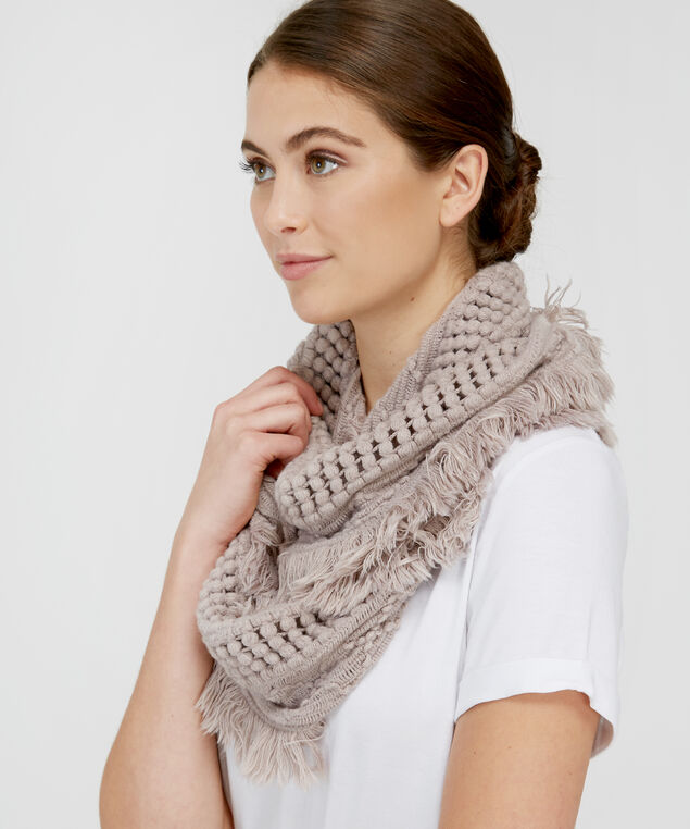 popcorn knit infinity scarf, SPHINX, hi-res