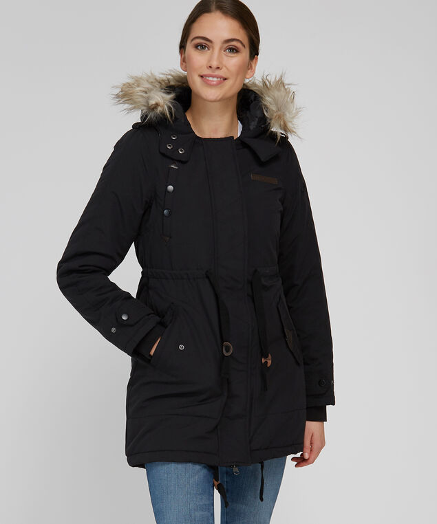 anorak with fleece plaid lining - wb, BLACK, hi-res