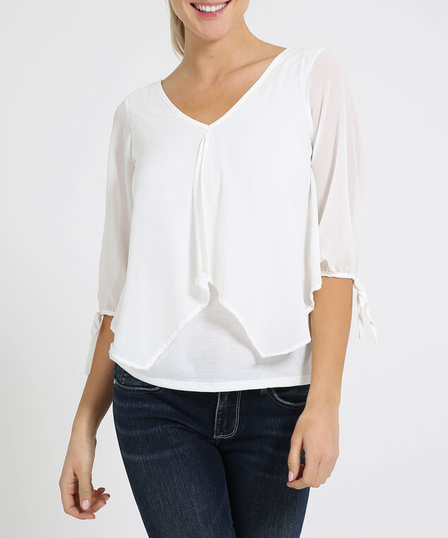 chiffon top with knit lining - wb, IVORY, hi-res