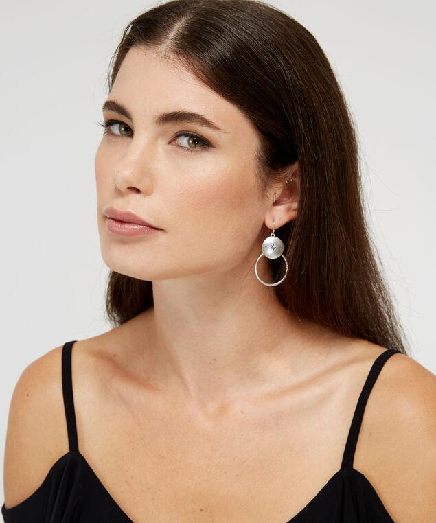 double hoop earrings, SILVER, hi-res