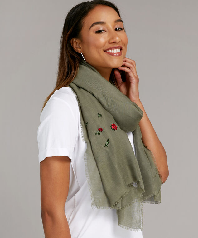olive embroidery scarf, OLIVE, hi-res