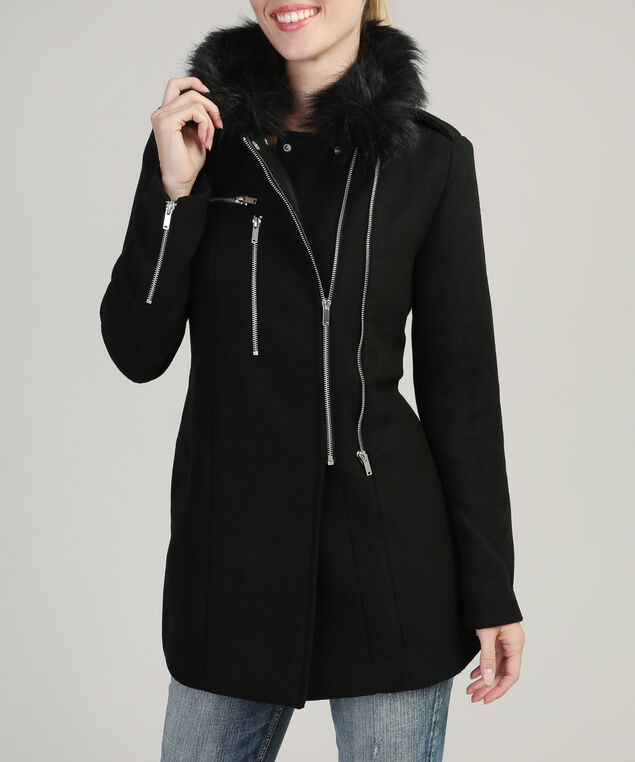 wool coat with faux fur collar - wb, BLACK, hi-res