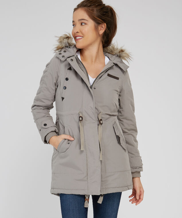 anorak with fleece plaid lining - wb, DARK  BEIGE, hi-res