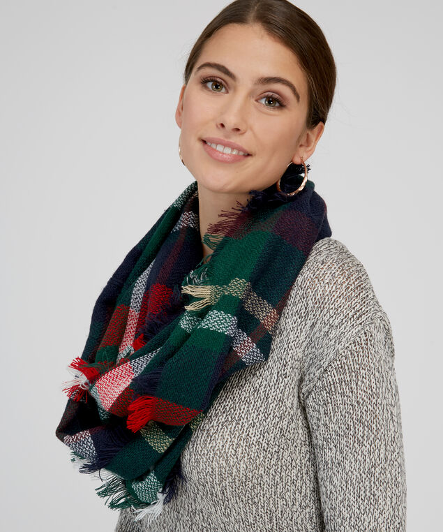 plaid infinity scarf, NAVY COMBO, hi-res