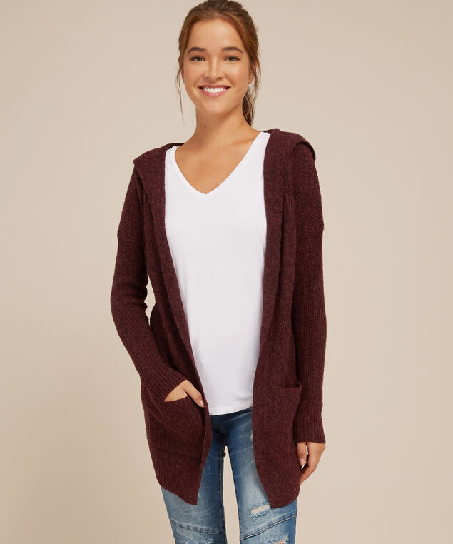 hooded cardigan with pockets - wb, BURGUNDY, hi-res