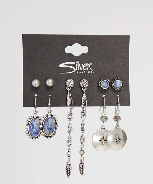 silver-tone multi pack of assorted earrings, SILVER, hi-res