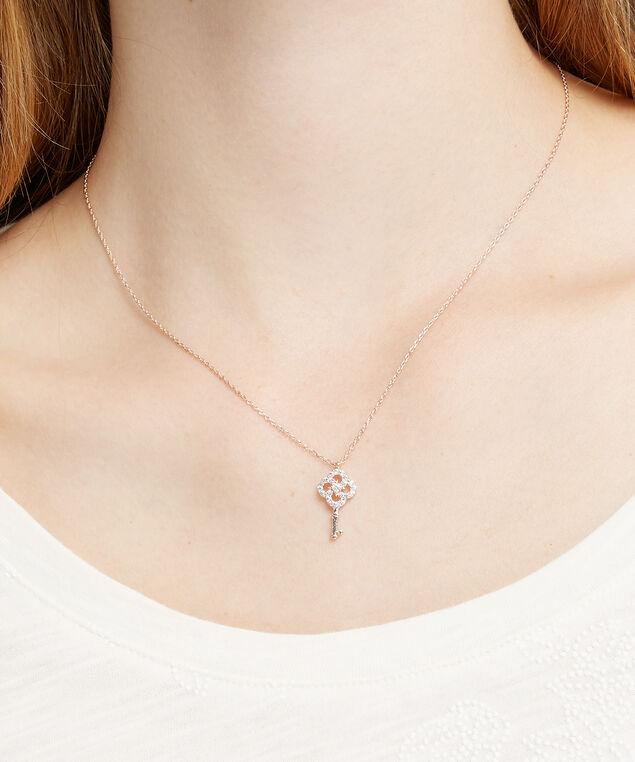 key charm necklace, ROSE GOLD, hi-res