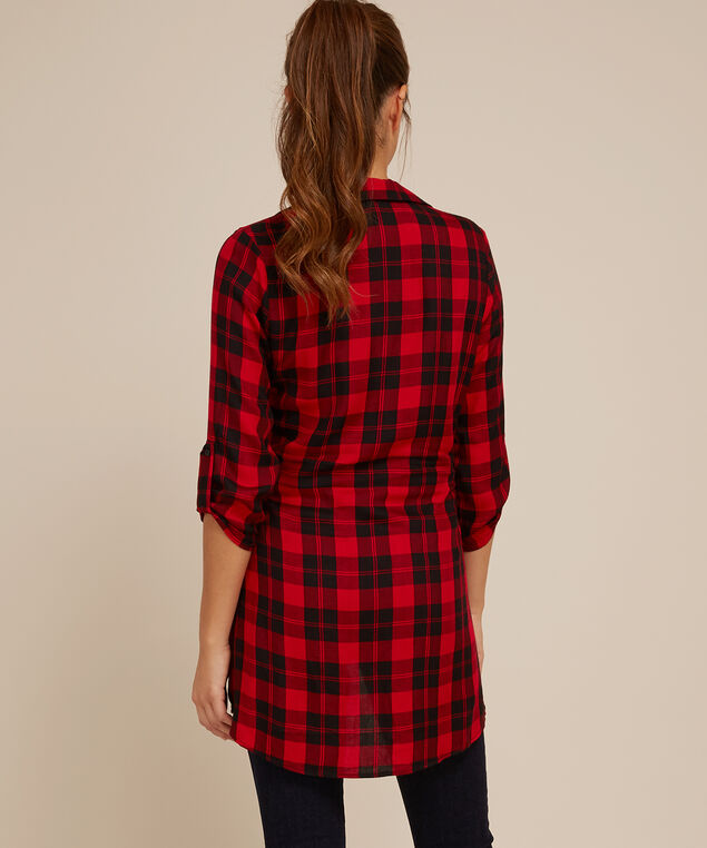 roll up sleeve tie front tunic - wb, RED BLACK, hi-res