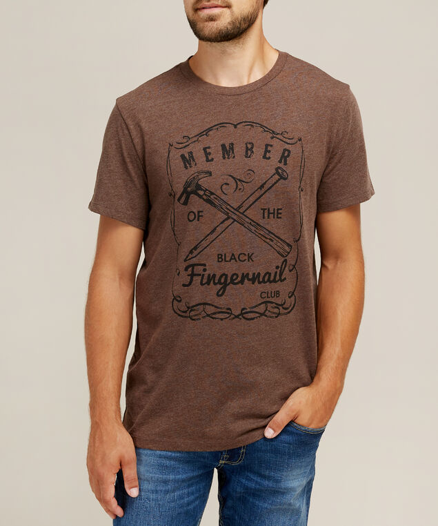 black fingernail graphic tee, CHOCOLATE, hi-res