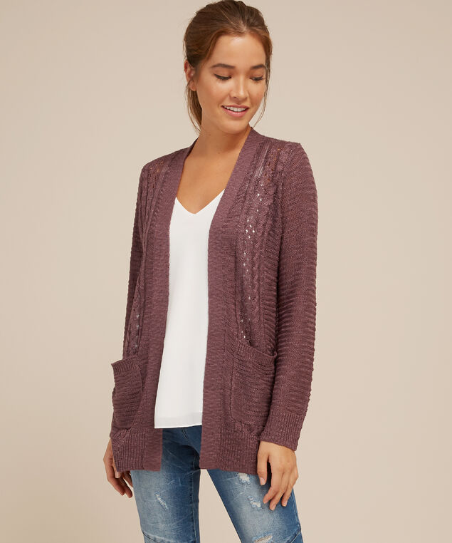 cardigan with front cable - wb, PURPLE, hi-res