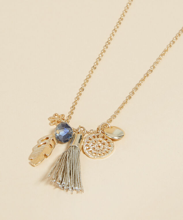 short gold necklace with feather pendant, GOLD, hi-res