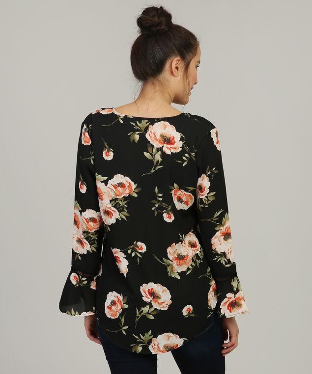 v neck bell sleeve shirt, BLACK FLORAL, hi-res