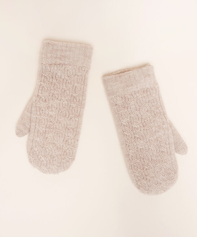 chain texture knit mittens, OATMEAL, hi-res