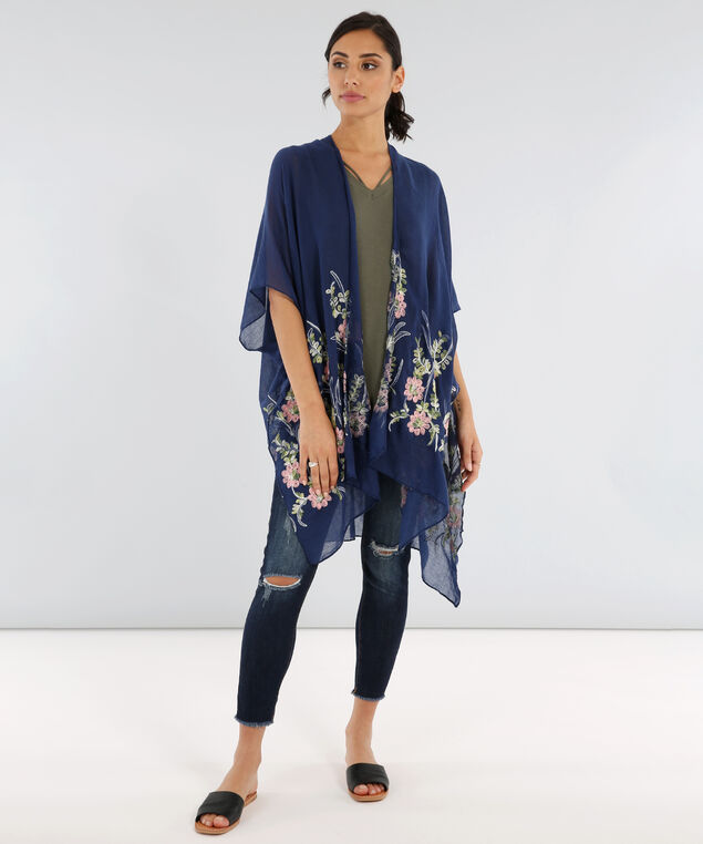 embroidered floral kimono, NAVY, hi-res