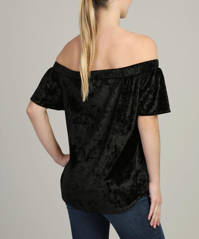 off shoulder crushed velvet tee - wb, BLACK, hi-res