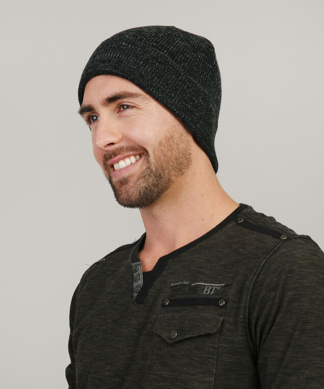 basic beanie with cuff, BLACK/GREY, hi-res