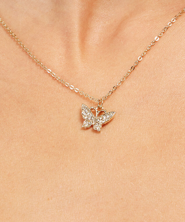 butterfly charm necklace, GOLD, hi-res