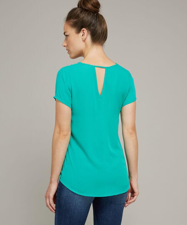 lattice neckline short sleeve top - wb, NEW VIRIDIT, hi-res