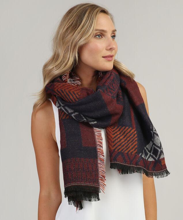 aztec blanket scarf, EGGPLANT/CRANBERRY, hi-res