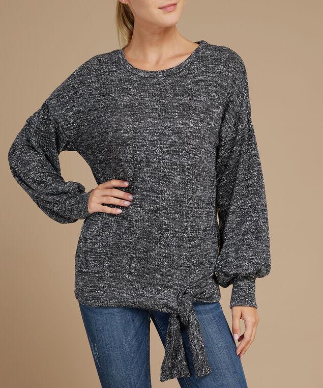 balloon sleeve pullover - wb, BLACK, hi-res