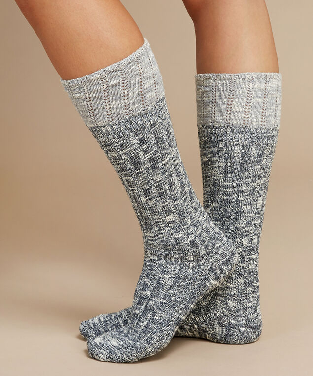 knee high slub yarn socks, BLACK, hi-res