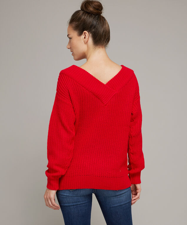 red v-neck popover - wb, BRIGHT RED, hi-res