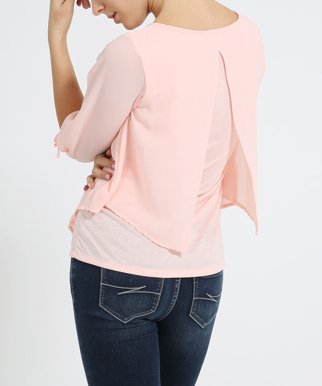 chiffon top with knit lining - wb, PEACH, hi-res