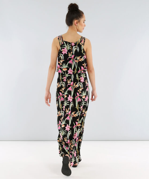 caged strap flutter maxi - wb, BLACK TROPICAL, hi-res