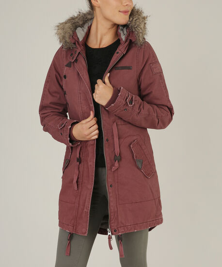 parka with faux fur trim - wb, BRN/PINK, hi-res