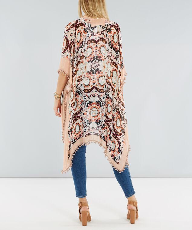 long kimono with pompom trim, BLUSH, hi-res