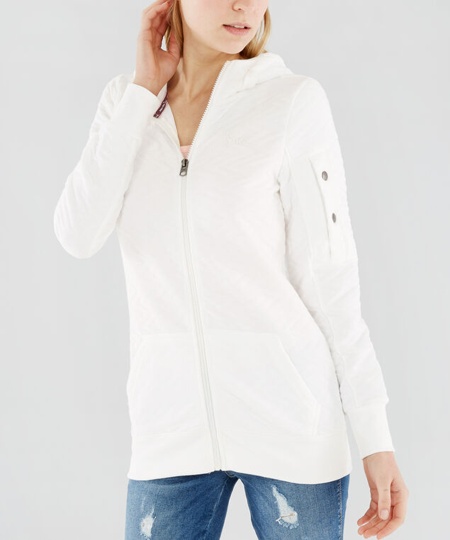 zip up chevron quilted hoodie - wb , OFF WHITE, hi-res