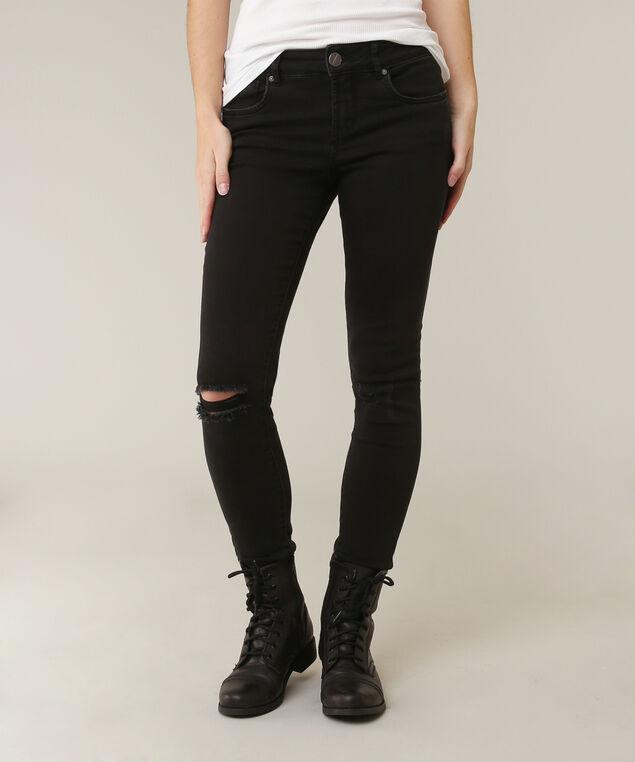 skinny black destructed knee, , hi-res