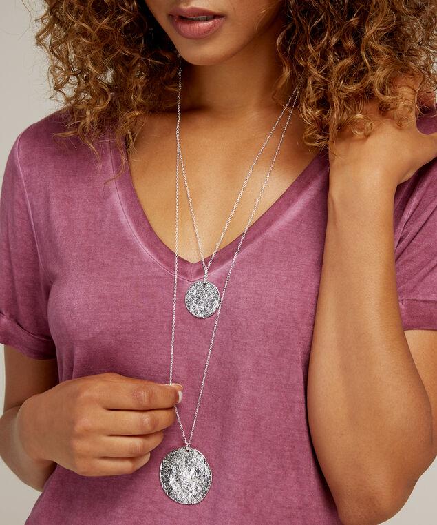 silver medallion pendant necklace, SILVER, hi-res
