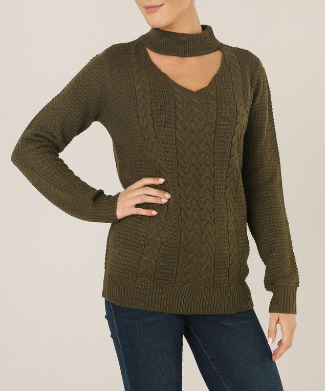 sweater with choker neck - wb, CAPER, hi-res