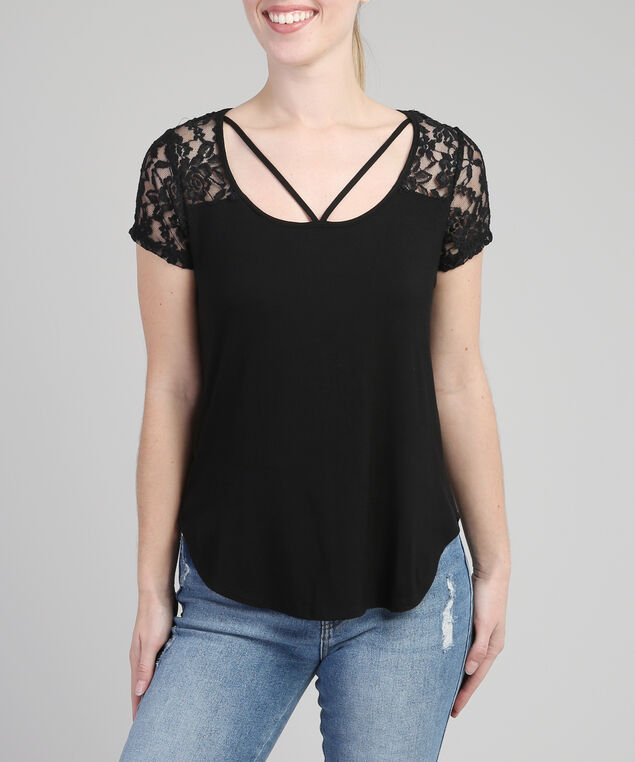 tee with lace yoke and front straps, BLACK, hi-res
