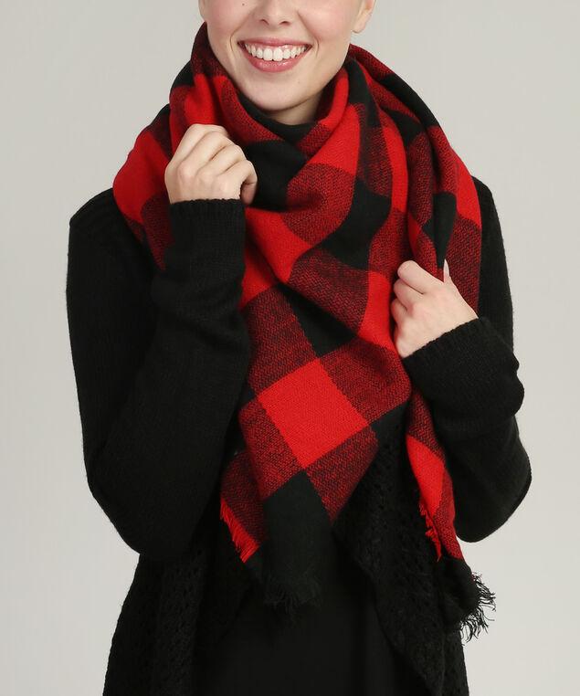 buffalo plaid blanket scarf, RED/BLACK, hi-res