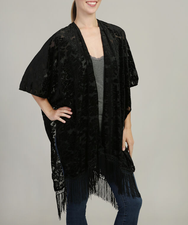 velvet burnout kimono with fringe, BLACK, hi-res