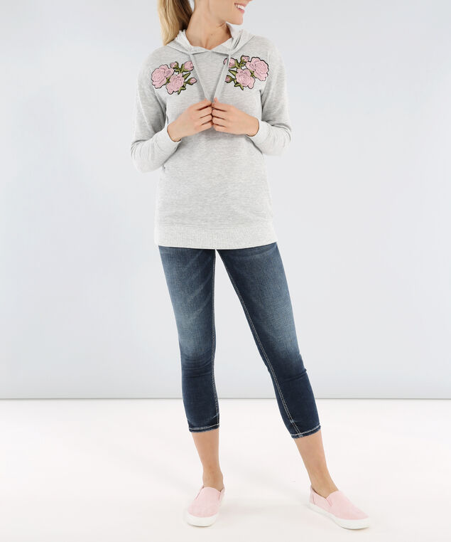 hoodie with floral patch - wb, HEATHER GREY, hi-res