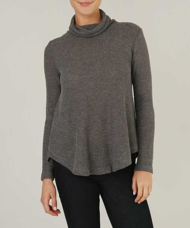 waffle cowl neck sweater - wb, GREEN, hi-res