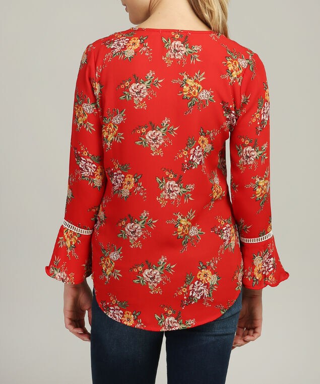 v neck bell sleeve top, RED FLORAL, hi-res