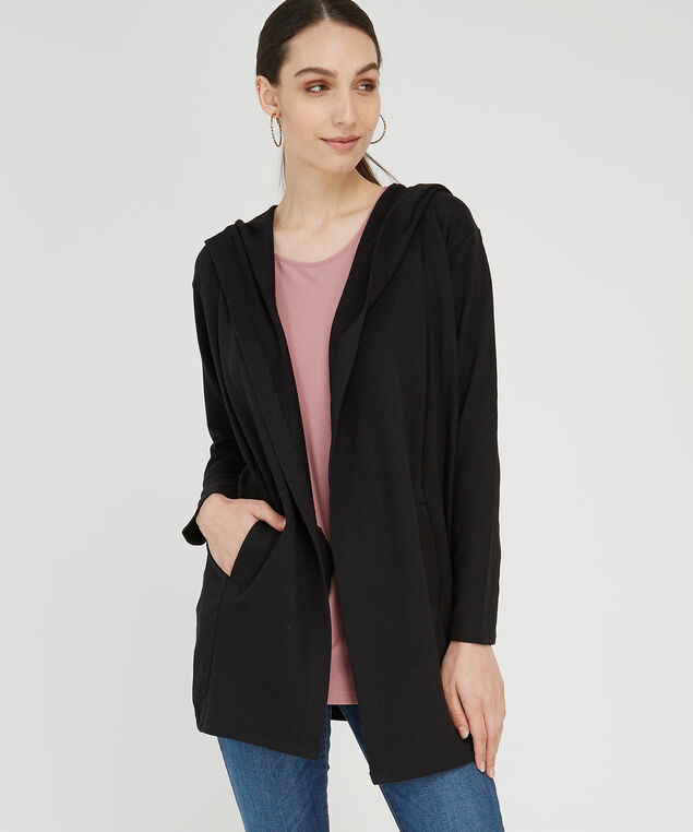 hooded open fleece cardi - wb, BLACK, hi-res