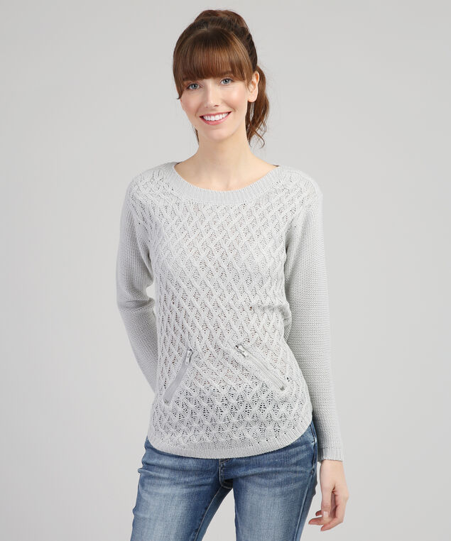 crew sweater with faux pockets - wb, GREY, hi-res